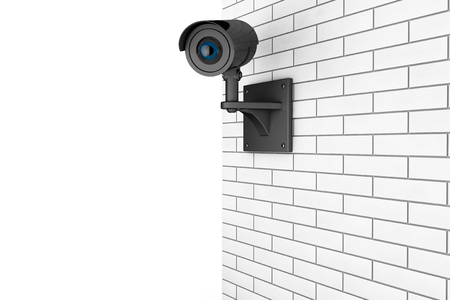 oversight: Video Camera Security System over Brick Wall on a white background