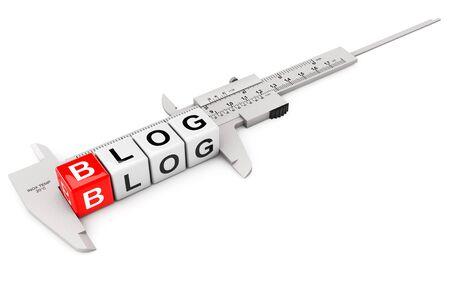 hypertext: Caliper Measure Blog Cubes on a white background