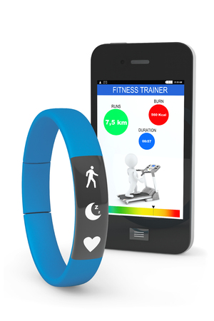 Blue Fitness Tracker with Mobile Phone on a white background