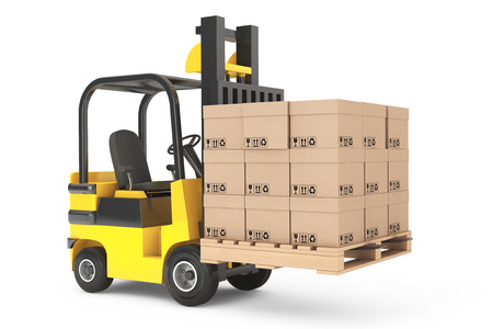 forklift: Forklift truck with boxes and pallet on a white background