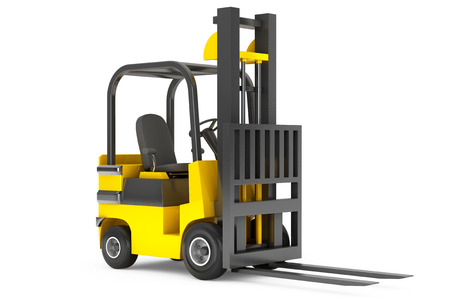 forklift: Closeup Forklift Truck on a white background
