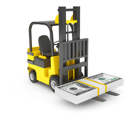 forklift: Forklift Truck moves Dollars on a white background Stock Photo
