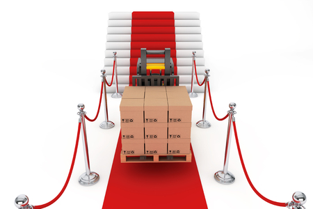 barrier rope: Red Carpet and Barrier Rope with Forklift and Boxes on a white background