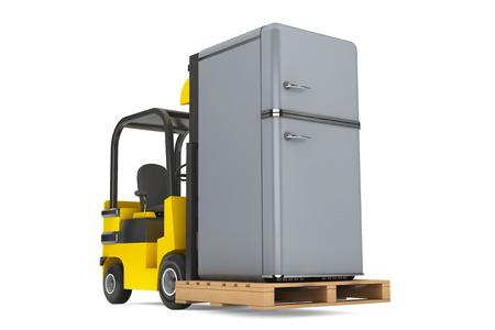 moves: Forklift Truck moves Vintage Refrigerator on a white background