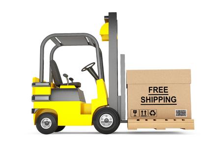 Vorkheftruck met gratis verzending Box en pallet op een witte achtergrond Stockfoto