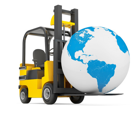 forklift: Forklift Truck moves Earth Globe on a white background