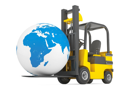 moves: Forklift Truck moves Earth Globe on a white background