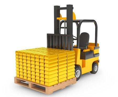 moves: Forklift Truck moves Golden Bars on a white background