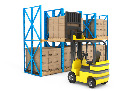 Forklift truck work in warehouse on a white background