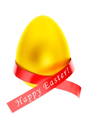 Happy Easter concept. Easter Golden egg with ribbon on a white background photo