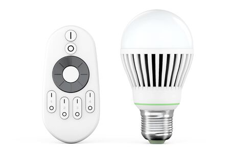 e27: Closeup LED bulb with remote controller on a white background Stock Photo