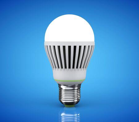 led lamp: Closeup LED bulb on a blue background Stock Photo