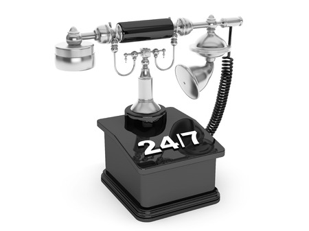 corded: Retro Phone. Vintage Telephone with 247 Sign on a white background Stock Photo