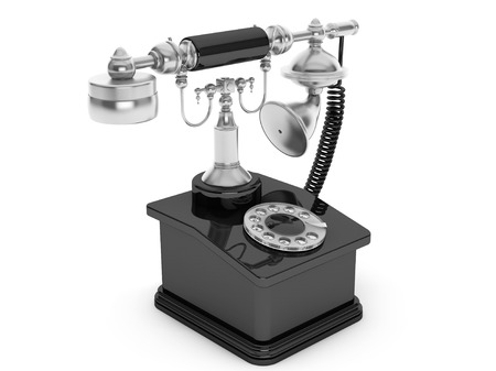 corded: Retro Phone. Vintage Telephone on a white background