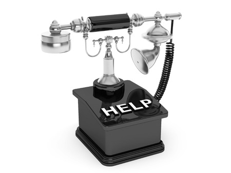 corded: Retro Phone. Vintage Telephone with Help Sign on a white background