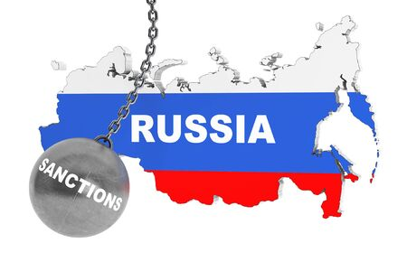 destroy: Sanctions Destroy Russia Concept.  Wrecking Ball as Sunctions with Russia Map on a white background