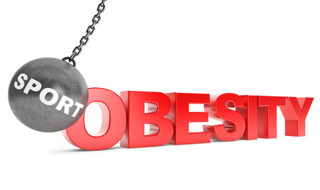 Sport Destroy Obesity Concept.  Wrecking Ball as Sport with Obesity Sign on a white background
