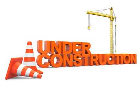 hoisting: Under construction sign with Hoisting Crane on a white background