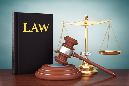 scale of justice: Old Style Photo. Justice gold scale, Law Book and wooden gavel on the table Stock Photo