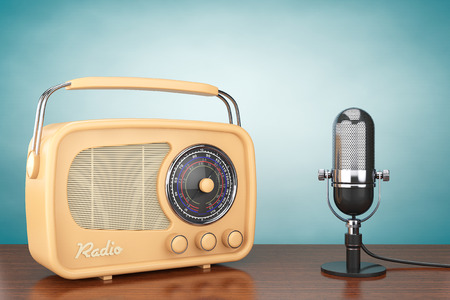 radio frequency: Retro Radio and Vintage Microphone on the table