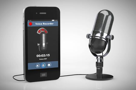 handsfree: Mobile Phone as Voice Recorder with Microphone on a white background