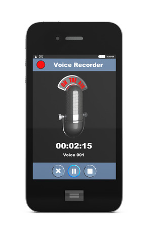 condenser: Mobile Phone as Voice Recorder on a white background