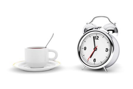 pm: Rare Alarm Clock with Coffee Cup on a white background