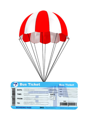 autobus: Bus Ticket with Parachute on a white background