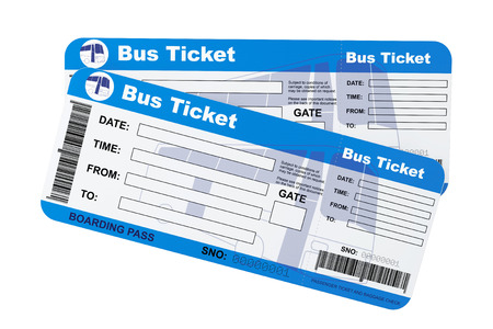 Bus boarding pass tickets on a white background photo