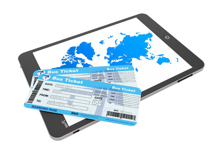Online booking concept. Tablet PC with Bus tickets on a white background photo