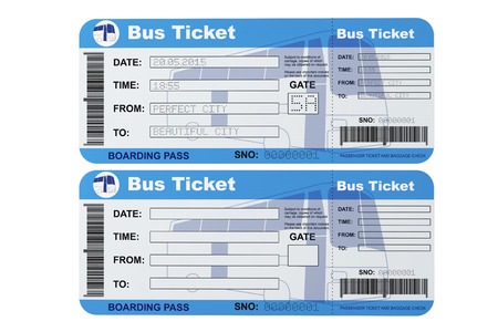 39146772 bus boarding pass tickets on a white background