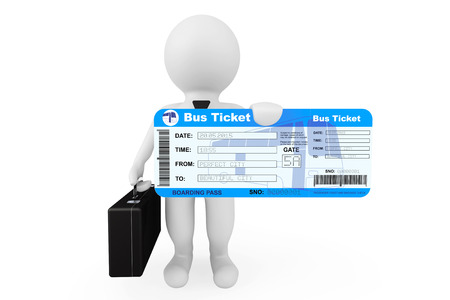 autobus: 3d Businessman hold Bus Boarding Pass Ticket on a white background