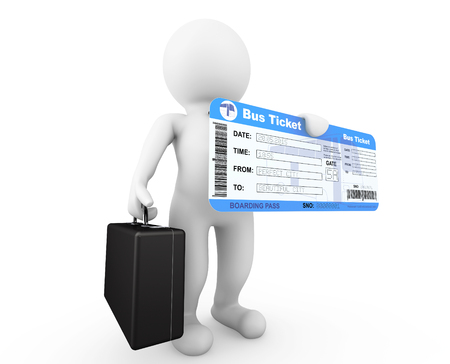 3d Businessman hold Bus Boarding Pass Ticket on a white background photo