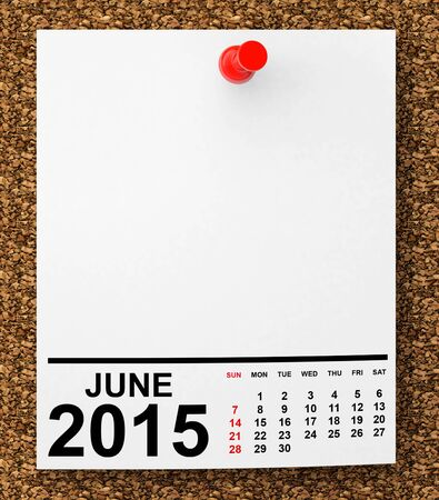 june: Calendar June 2015 on blank note paper with free space for your text