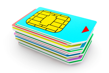 Stack of Mutlicolored SIM Cards on a white background photo
