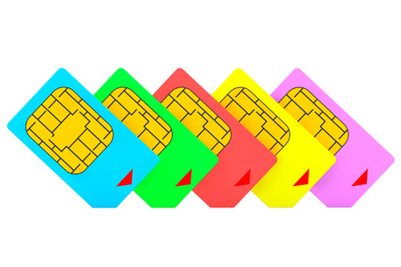 Mutlicolored SIM Cards on a white background photo