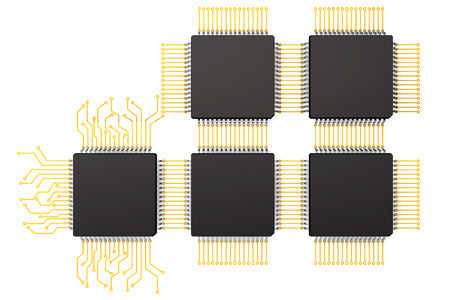 computer part: CPU Microchips as Circuit on a white background