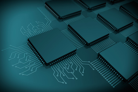 CPU Microchips as Circuit on a black background