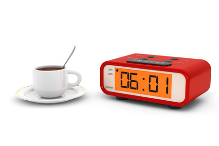 pm: Modern Digital Alarm Clock with Coffee Cup on a white background