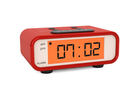 Modern Digital Alarm Clock on a white background photo