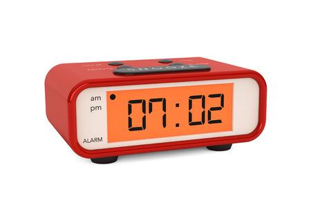 pm: Modern Digital Alarm Clock on a white background