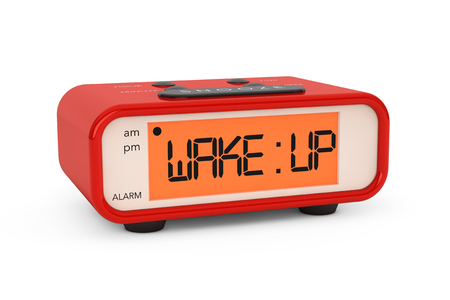 Modern Digital Alarm Clock with Wake Up Sign on a white background photo