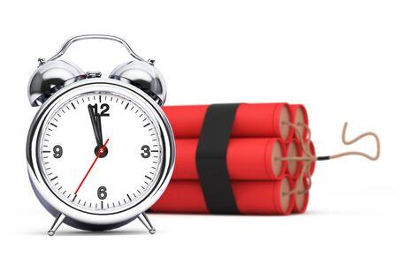 detonator: Dynamit with Alarm Clock Detonator on a white background