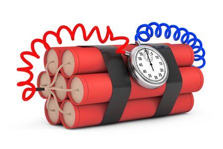 detonator: Dynamit with Stop Watch Detonator on a white background