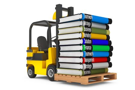 forklift: Forklift with Stack of Books on a white background Stock Photo