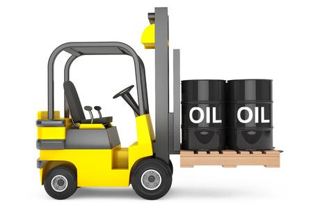 forklift: Forklift Truck with Oil Barrels over Pallet on a white background