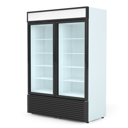vertical fridge: Fridge Drink with glass door on a white background