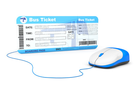 Online booking concept. Bus boarding pass ticket and computer mouse on a white background photo
