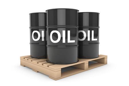 barell: Black Oil Barrels over Wooden Pallet on a white background