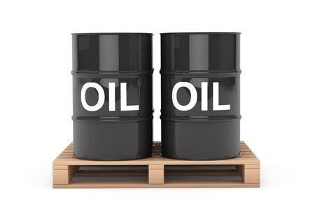barel: Black Oil Barrels over Wooden Pallet on a white background